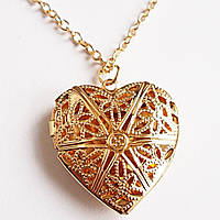 """Кулон коробочка """"Золотое сердце"""" под фото. Ювелирный сплав."""