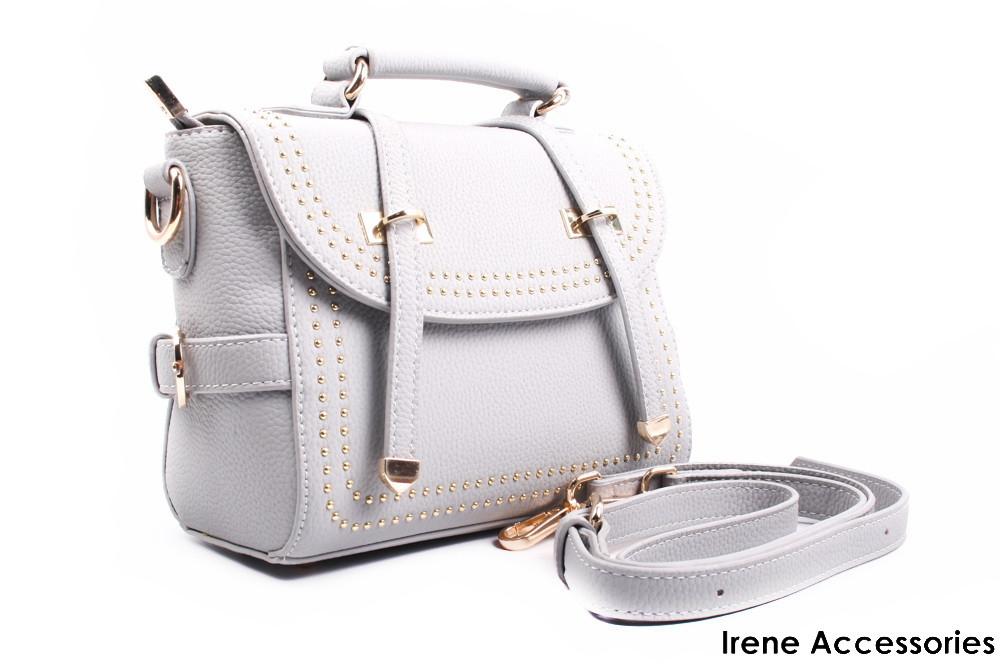 Стильная сумка серая, эко-кожа, прямоугольная, маленькая