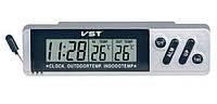 Электронные часы в машину VST 7067, 2 термодатчика, °C/°F, будильник, календарь, LCD-дисплей, 120х34х34мм