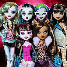 Набор кукол Monster High Дракулаура, Гулия, Лагуна, Клодин, Фрэнки и Клео Базовые Монстер Хай Школа монстров