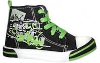 Стильные, польские высокие кеды American club аля Converse для детей р.26,27,28,29,30 цвет черный с зеленым