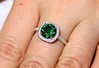 Кольцо серебро 925 проба 18 размер АРТ1192 Зеленый, фото 1