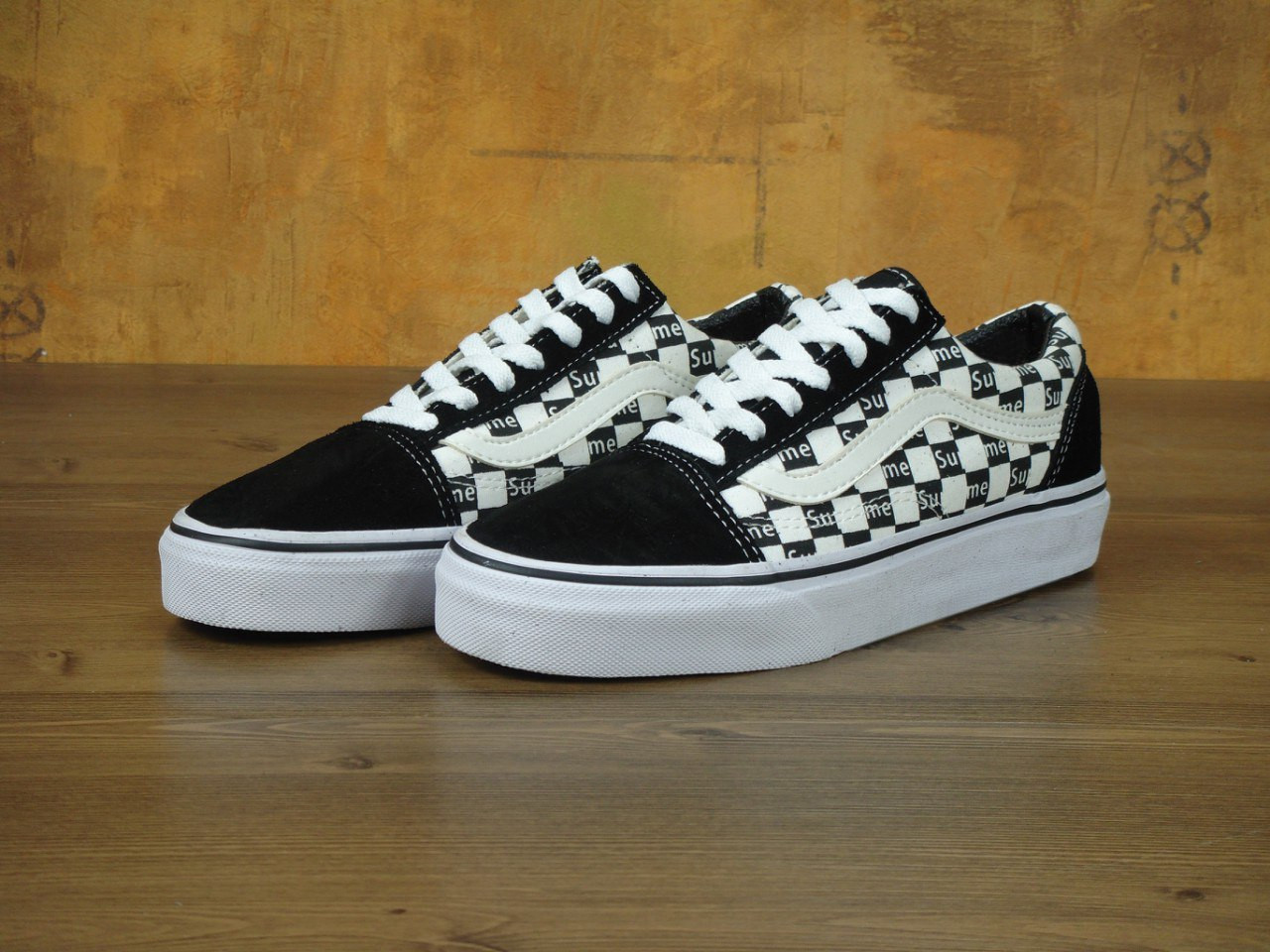 Кеды мужские Vans Old Skool x Supreme 30361 черно-белые - Брендовая одежда  от интернет 3556e1dbf22