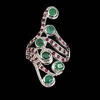 Кольцо (перстень) с натуральными ИЗУМРУДАМИ и РУБИНАМИ