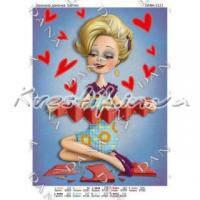 Ткань с рисунком для вышивки бисером Влюбленная дамочка