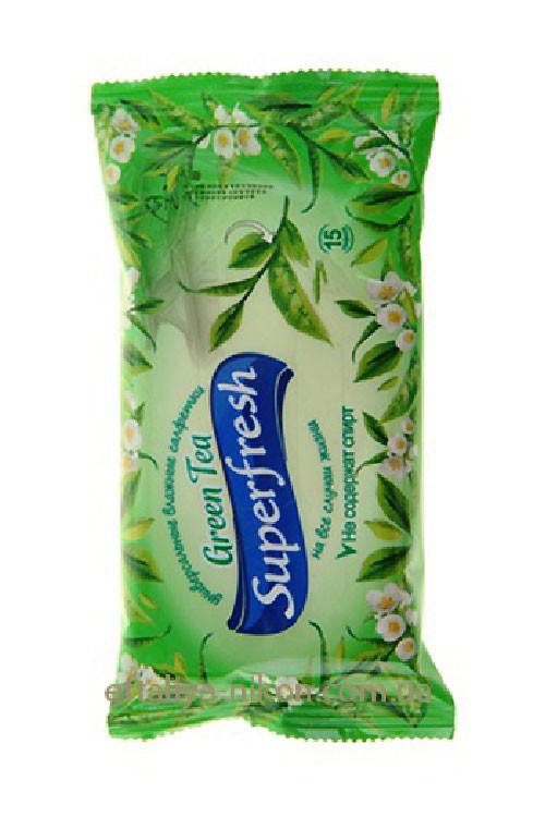 Влажные салфетки зеленый чай Superfresh