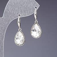 Серьги с белыми кристаллами Капли L-3см