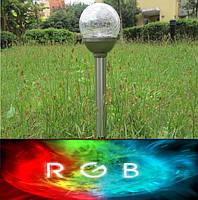 """Садовый светильник нержавейка """"Premium"""", газонный светильник. Технология RGB LED (при свечении меняет цвета)."""