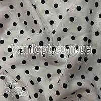 Ткань Штапель горох бело- черный (7-8мм)