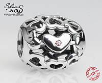 """Серебряная подвеска-шарм Пандора (Pandora) """"Большая любовь"""" для браслета"""