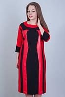Красивое черное платье свободного кроя, с красными кожаными вставками. Размеры: 52-58
