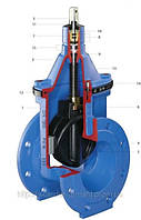 Задвижка с обрезиненным клином фланцевая HAWLE типE2 Dn50/150 (1,6Mpa)
