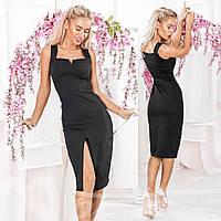 Элегантное платье футляр с разрезом по ноге Gr  16203 Черный , фото 1