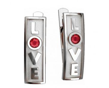 Серьги серебряные LOVE с камнем 40812