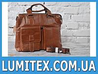 Кожаная мужская сумка с накладными карманами, ручками и ремнём