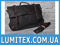 Комбинированная мужская универсальная сумка - портфель с кожаным клапаном и широким ремнём - ручкой