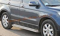 Боковые пороги площадка труба с листом из нержавейки на Honda CR-V 2007-2012 2007