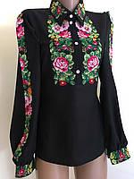 Чорна вишита блуза з квітковим орнаментом 42(S), фото 1