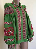 2a9a1109f1d3 Жіноча вишита блуза зеленого кольору з старовинним орнаментом розмір 42-44  (S-M)