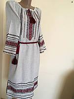 Сукня жіноча вишита ручної роботи на сірому льоні розмір 46 (L)