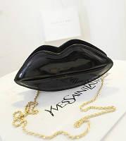 Черная сумка-губы для девочки,кроссбоди