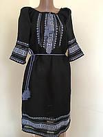 Вишита сукня чорний льон ручна робота розмір 44 (M), фото 1