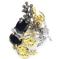 Серебряное Кольцо с Натуральными Сапфирами