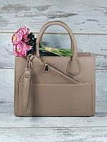 Женская сумка с кошельком беж классическая