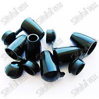 Наконечник пластик колокольчик чёрный и прозрачный, фото 1