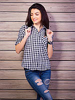 Рубашка в черно-белую клетку