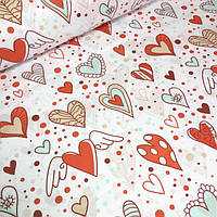 Польский ткани сердечки ассорти  фоне № 590