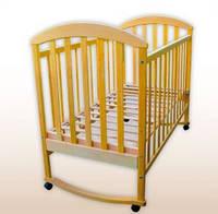 Детская кроватка из натурального дерева качалка ЛУНА,цвет натуральный