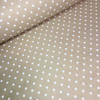 Хлопковая ткань белый горох 7 мм на кофейном фоне № 591