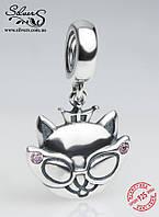 """Серебряная подвеска-шарм Пандора (Pandora) """"Кошка с короной и очками"""" для браслета"""
