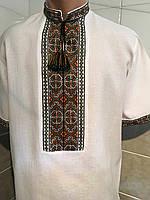 Біла вишита сорочка чоловіча на короткий рукав 46 розмір