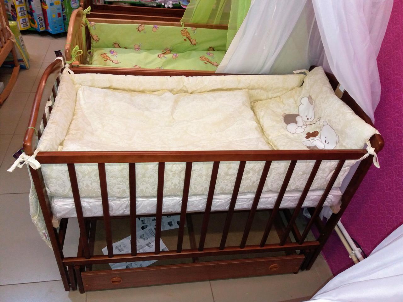 Кроватка детская «ЧАЙКА» маятник с ящиком,тонированный КВ-01.CHY-01