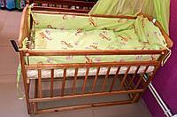 Детская кроватка «ЧАЙКА» с регулировкой боковины КВ-01.CHВ-00 маятник, без ящика, натуральний
