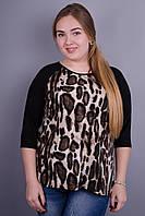 Бренди. Женская кофточка больших размеров. Леопард.