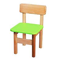 Детский Стульчик деревянный салатовый. F31