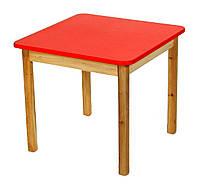 Детский Стол деревянный красный c квадратной столешницей. F43