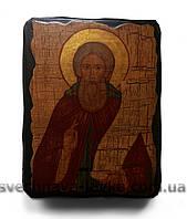 Сергий Радонежский - афонская икона на дереве 13 см х 17 см х 3 см