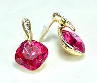 СГ1165-1 Серьги гвоздики с розовым камнем