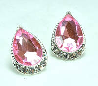 СГ1165-2 Серьги гвоздики с розовым камнем