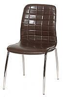 Стул N-72 кожзам блестящий коричневый, металлический хромированный каркас