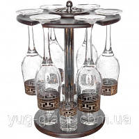 """Набор 13 предметный с рисунком GE01-160/837 """"Греческий узор""""(бокалы для вина,стопки,барная ст"""