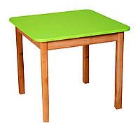 Детский Стол деревянный салатовый c квадратной столешницей. F40