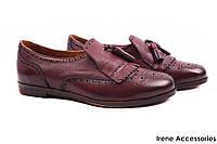 Туфли женские Molly Bessa натуральная кожа, цвет бордо (комфорт, каблук, Турция)