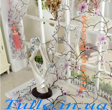 Тюль печать с сиреневым цветком, фото 2