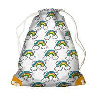 Белый детский рюкзак мешок с принтом Радуга