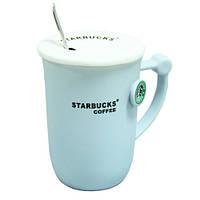 """Чашка керамическая с крышкой и ложкой """"Starbucks"""" Релиф 350 мл. (3 вида)"""